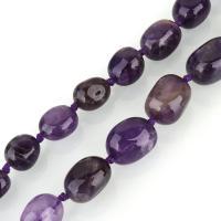 Natürliche Amethyst Perlen, oval, 9-20x7-14x6-14mm, Bohrung:ca. 1.5mm, ca. 27PCs/Strang, verkauft per ca. 18 ZollInch Strang
