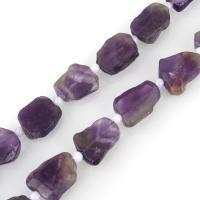 Amethyst Perle, mit Glasperlen, 17-19x14-15x5-6mm, Bohrung:ca. 1.5mm, ca. 20PCs/Strang, verkauft per ca. 16 ZollInch Strang