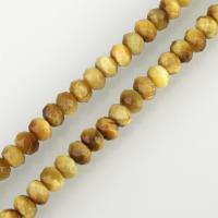 Tigerauge Perlen, Trommel, facettierte, 6x8x8mm, Bohrung:ca. 1mm, ca. 67PCs/Strang, verkauft per ca. 15.5 ZollInch Strang