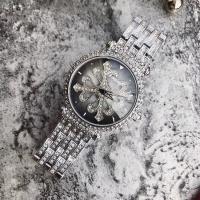DIMINI® Uhrenkollektion, Edelstahl, mit Glas, flache Runde, plattiert, für Frau & wasserdicht & mit Strass, keine, 39x13mm, Länge:ca. 8.6 ZollInch, verkauft von PC