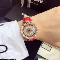 DIMINI® Uhrenkollektion, Leder, mit Glas & Zinklegierung, flache Runde, plattiert, für Frau & wasserdicht & mit Strass, keine, 34x10mm, Länge:ca. 8.6 ZollInch, verkauft von PC