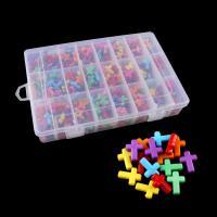 Volltonfarbe Acryl Perlen, mit Kunststoff Kasten, Kreuz, gemischte Farben, 12x16x4.5mm, 218x110x30mm, Bohrung:ca. 1mm, 480PCs/Box, verkauft von Box