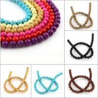 Synthetische Türkis Perle, rund, Spritzlackierung, verschiedene Größen vorhanden, keine, Bohrung:ca. 1mm, Länge:ca. 15.5 ZollInch, 50SträngeStrang/Tasche, verkauft von Tasche