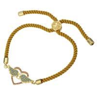 Nylonschnur Armband, mit Messing, Herz, Rósegold-Farbe plattiert, unisex & einstellbar & Micro pave Zirkonia, 29x14mm, 3mm, verkauft per ca. 6-8 ZollInch Strang