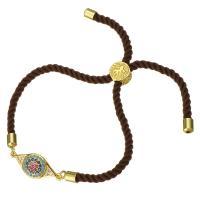 Nylonschnur Armband, mit Messing, Pferdeauge, goldfarben plattiert, unisex & einstellbar & Micro pave Zirkonia, 23x10mm, 3mm, verkauft per ca. 6-8 ZollInch Strang