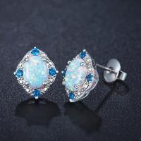 Messing Ohrstecker, mit Opal, platiniert, Micro pave Zirkonia & für Frau, frei von Nickel, Blei & Kadmium, 11x13mm, verkauft von Paar