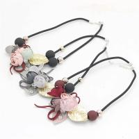 Zinklegierung Schmuck Halskette, mit Polyester, goldfarben plattiert, Koreanischen Stil & für Frau, keine, frei von Nickel, Blei & Kadmium, 34x41mm, verkauft per ca. 16.5 ZollInch Strang
