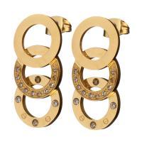 Edelstahl Ohrringe, goldfarben plattiert, mit Strass, 13x24x13mm, verkauft von Paar