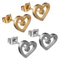 Edelstahl Ohrringe, Herz, plattiert, für Frau & mit Strass, keine, 8x10x14mm, verkauft von Paar
