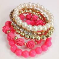 Acryl Armband-Set, mit ABS-Kunststoff-Perlen & Harz & Zinklegierung, für Frau & mit Strass, keine, Länge:ca. 8.5 ZollInch, 5SträngeStrang/setzen, verkauft von setzen