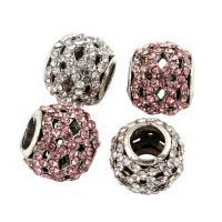 Zink Legierung Europa Perlen, Zinklegierung, Trommel, Platinfarbe platiniert, ohne troll & mit Strass, keine, frei von Blei & Kadmium, 10x11mm, Bohrung:ca. 5mm, 5PCs/Tasche, verkauft von Tasche