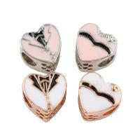 Zink Legierung Europa Perlen, Zinklegierung, Herz, plattiert, ohne troll & Emaille, keine, frei von Blei & Kadmium, 11x11x8mm, Bohrung:ca. 4mm, 5PCs/Tasche, verkauft von Tasche