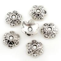 Zinklegierung Perlenkappe, Blume, antik silberfarben plattiert, Schwärzen, frei von Blei & Kadmium, 10x3.5mm, Bohrung:ca. 2mm, 100G/Tasche, verkauft von Tasche