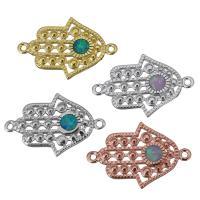 Messing Schmuckverbinder, mit Opal, Hamsa, plattiert, 1/1-Schleife, keine, 20.50x13.50x2mm, Bohrung:ca. 1mm, 10PCs/Menge, verkauft von Menge