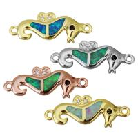 Messing Schmuckverbinder, mit Opal, Seepferd, plattiert, Micro pave Zirkonia & 1/1-Schleife, keine, 19.50x7x2mm, Bohrung:ca. 1mm, 10PCs/Menge, verkauft von Menge
