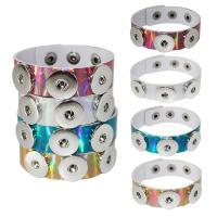 Unisex-Armband & Bangle, PU Leder, mit Messing, Platinfarbe platiniert, einstellbar, keine, verkauft per ca. 8 ZollInch Strang