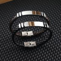 Titanstahl Armband, mit PU Leder, unisex & einstellbar, keine, verkauft per ca. 8.5 ZollInch Strang