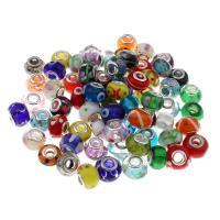 Lampwork Perlen European Stil, handgemacht, Messing-Dual-Core ohne troll & gemischt, 13x9mm-18x9mm, Bohrung:ca. 5mm, 100PCs/Tasche, verkauft von Tasche