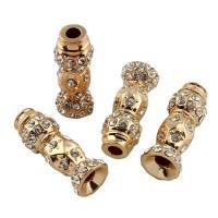 Strass Zinklegierung Perlen, goldfarben plattiert, mit Strass, frei von Blei & Kadmium, 10x26mm, Bohrung:ca. 3.5mm, verkauft von PC