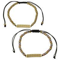 Edelstahl Woven Ball Armband, mit Nylonschnur, plattiert, einstellbar & für Frau, keine, 29x5mm, 3x4mm, verkauft per ca. 6-11 ZollInch Strang