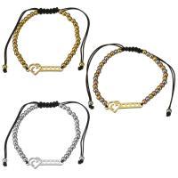 Edelstahl Woven Ball Armband, mit Nylonschnur, Herz, plattiert, einstellbar & für Frau, keine, 28x9mm, 3x4mm, verkauft per ca. 6-11 ZollInch Strang