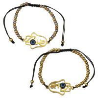 Edelstahl Woven Ball Armband, mit Nylonschnur & Harz, Hamsa, plattiert, böser Blick- Muster & einstellbar & für Frau, keine, 33x20mm, 3x4mm, verkauft per ca. 6-11 ZollInch Strang