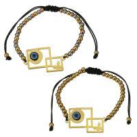 Edelstahl Woven Ball Armband, mit Nylonschnur & Harz, Rhombus, plattiert, böser Blick- Muster & einstellbar & für Frau, keine, 32.5x20mm, 3x4mm, verkauft per ca. 6-11 ZollInch Strang