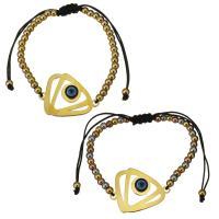 Edelstahl Woven Ball Armband, mit Nylonschnur & Harz, Dreieck, plattiert, böser Blick- Muster & einstellbar & für Frau, keine, 30x22mm, 3x4mm, verkauft per ca. 6-11 ZollInch Strang