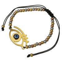 Edelstahl Woven Ball Armband, mit Nylonschnur & Harz, blöser Blick, plattiert, einstellbar & für Frau, 33x19mm, 3x4mm, verkauft per ca. 6-11 ZollInch Strang