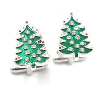 Messing Manschettenknöpfe, Weihnachtsbaum, platiniert, unisex & Emaille & mit Strass, grün, 22x16mm, verkauft von Paar