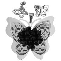 Edelstahl Mode Schmuckset, Anhänger & Ohrring, mit Kristall, Schmetterling, für Frau & facettierte, originale Farbe, 52x48mm, 14.5x12mm, Bohrung:ca. 4x8mm, verkauft von setzen