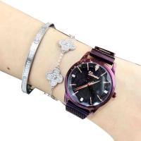 DIMINI® Uhrenkollektion, Edelstahl, mit Glas, flache Runde, plattiert, Sternendesign & für Frau & wasserdicht & mit Strass, keine, 30mm, Länge:ca. 8.6 ZollInch, verkauft von PC