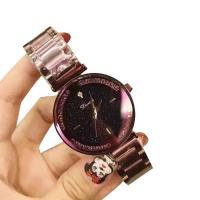 DIMINI® Uhrenkollektion, Edelstahl, mit Glas, flache Runde, plattiert, Sternendesign & für Frau & wasserdicht & mit Strass, keine, 34x10mm, Länge:ca. 8.6 ZollInch, verkauft von PC