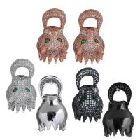 Messing Ohrstecker, Fuchs, plattiert, ohne stopper & Micro pave Zirkonia & für Frau, keine, 18x19x16mm, 31mm, 0.9mm, verkauft von Paar