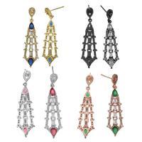 Messing Tropfen Ohrringe, plattiert, ohne stopper & für Frau & mit kubischem Zirkonia, keine, 12x38x3.5mm, 47mm, 0.8mm, verkauft von Paar
