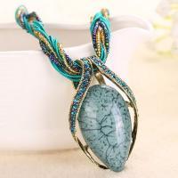 Zinklegierung Halskette, mit Glasperlen & Harz Strass, plattiert, für Frau & mit Strass, keine, 40x65mm, verkauft per ca. 16.5 ZollInch Strang