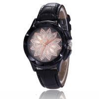 Damen Armbanduhr, PU Leder, mit Glas & Zinklegierung, metallschwarz plattiert, einstellbar & für Frau & mit Strass, keine, 38x9mm, Länge:ca. 8.8 ZollInch, verkauft von PC