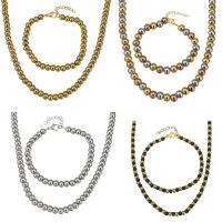 Edelstahl Schmucksets, Armband & Halskette, plattiert, für Frau, keine, 6x8mm, 6x8mm, verkauft per ca. 18 ZollInch, ca. 7 ZollInch Strang
