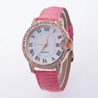 Damen Armbanduhr, PU Leder, mit Zinklegierung Zifferblatt & Glas, für Frau & mit Strass, keine, Länge:ca. 8 ZollInch, verkauft von PC