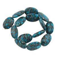 Mosaik Türkis Perle, oval, blau, 20x30x9mm, Bohrung:ca. 1mm, Länge:ca. 15.5 ZollInch, 10SträngeStrang/Tasche, verkauft von Tasche