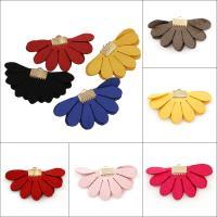 Baumwollsamt Anhänger, mit Eisen Stiftöse, Blume, goldfarben plattiert, keine, 45x25x2mm, Bohrung:ca. 3x1.5mm, 100PCs/Tasche, verkauft von Tasche
