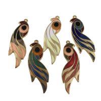 Cloisonné Anhänger, Vogel, goldfarben plattiert, Emaille, gemischte Farben, 18x52x1mm, Bohrung:ca. 1mm, 10PCs/Tasche, verkauft von Tasche