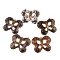 Cloisonné Anhänger, Schmetterling, goldfarben plattiert, Emaille, gemischte Farben, 27x22x1mm, Bohrung:ca. 1mm, 10PCs/Tasche, verkauft von Tasche