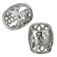 Edelstahl-Perlen mit großem Loch, Edelstahl, Trommel, hohl, originale Farbe, 10x9.50x10mm, Bohrung:ca. 6mm, 10PCs/Menge, verkauft von Menge