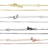 Messingkette Halskette, Messing, plattiert, Kastenkette, keine, 1mm, Länge:ca. 16 ZollInch, 50SträngeStrang/Menge, verkauft von Menge