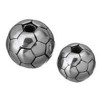 Edelstahl-Beads, Edelstahl, Fussball, verschiedene Größen vorhanden & Schwärzen, Bohrung:ca. 2mm, 10PCs/Menge, verkauft von Menge
