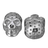 Edelstahl-Beads, Edelstahl, Schädel, originale Farbe, 9x13.50x7mm, Bohrung:ca. 2mm, 10PCs/Menge, verkauft von Menge