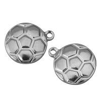 Edelstahl Schmuck Anhänger, Fussball, originale Farbe, 13x15.50x3.50mm, Bohrung:ca. 1.5mm, 100PCs/Menge, verkauft von Menge