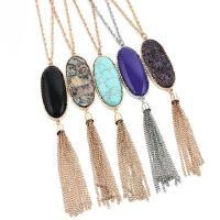Zinklegierung Pullover Halskette, mit Naturstein & Harz, mit Verlängerungskettchen von 2.7inch, plattiert, unisex, keine, 23x50mm, verkauft per ca. 23.6 ZollInch Strang