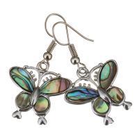 Muschel Ohrringe, Messing, mit Seeohr Muschel, Schmetterling, silberfarben plattiert, für Frau, 39mm, 22x21mm, verkauft von Paar